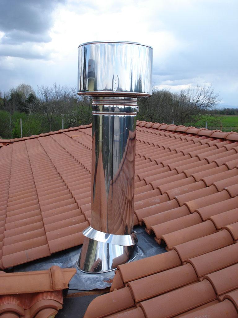 Canna fumaria tetto profilati alluminio for Stufa pirolitica con canna fumaria